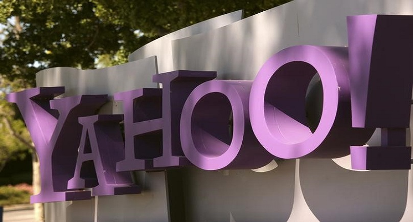 The Yahoo logo is shown at the company's headquarters in