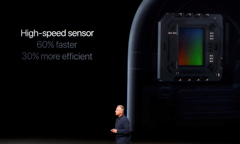 Phil Schiller, Senior Vice President of Worldwide Marketing at Apple Inc, discusses the sensor on the iPhone7 during an Apple media event in San Francisco, California, U.S. September 7, 2016.  REUTERS/Beck Diefenbach