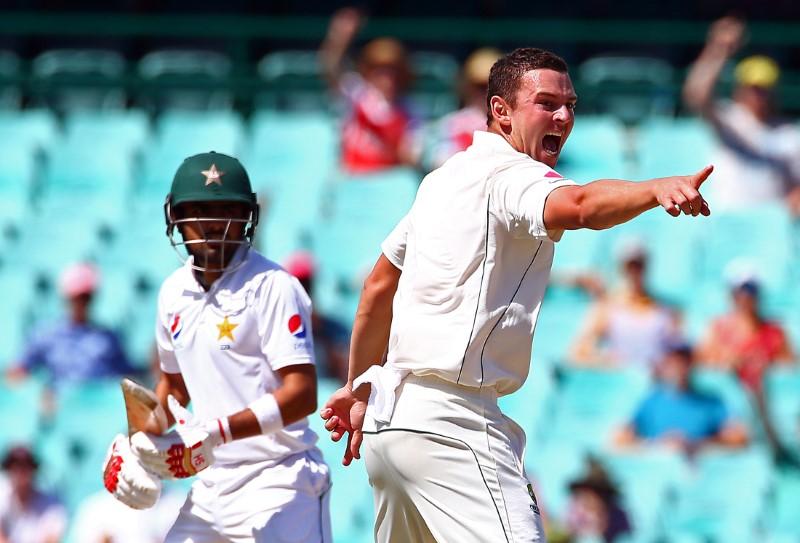 Cricket - Australia v Pakistan - Third Test cricket match - Sydney Cricket Ground, Sydney, Australia - 7/1/17 Australia's Josh Hazlewood appeals successfully for LBW to dismiss Pakistan's Babar Azam.