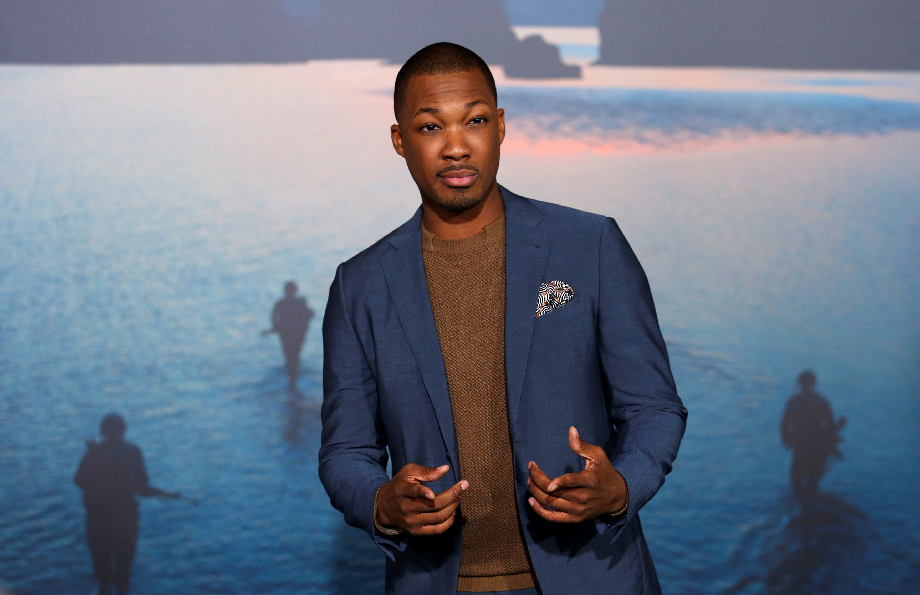 """Cast member Corey Hawkins poses at the premiere of """"Kong: Skull Island"""" in Los Angeles, California, U.S. March 8, 2017. REUTERS/Mario Anzuoni"""