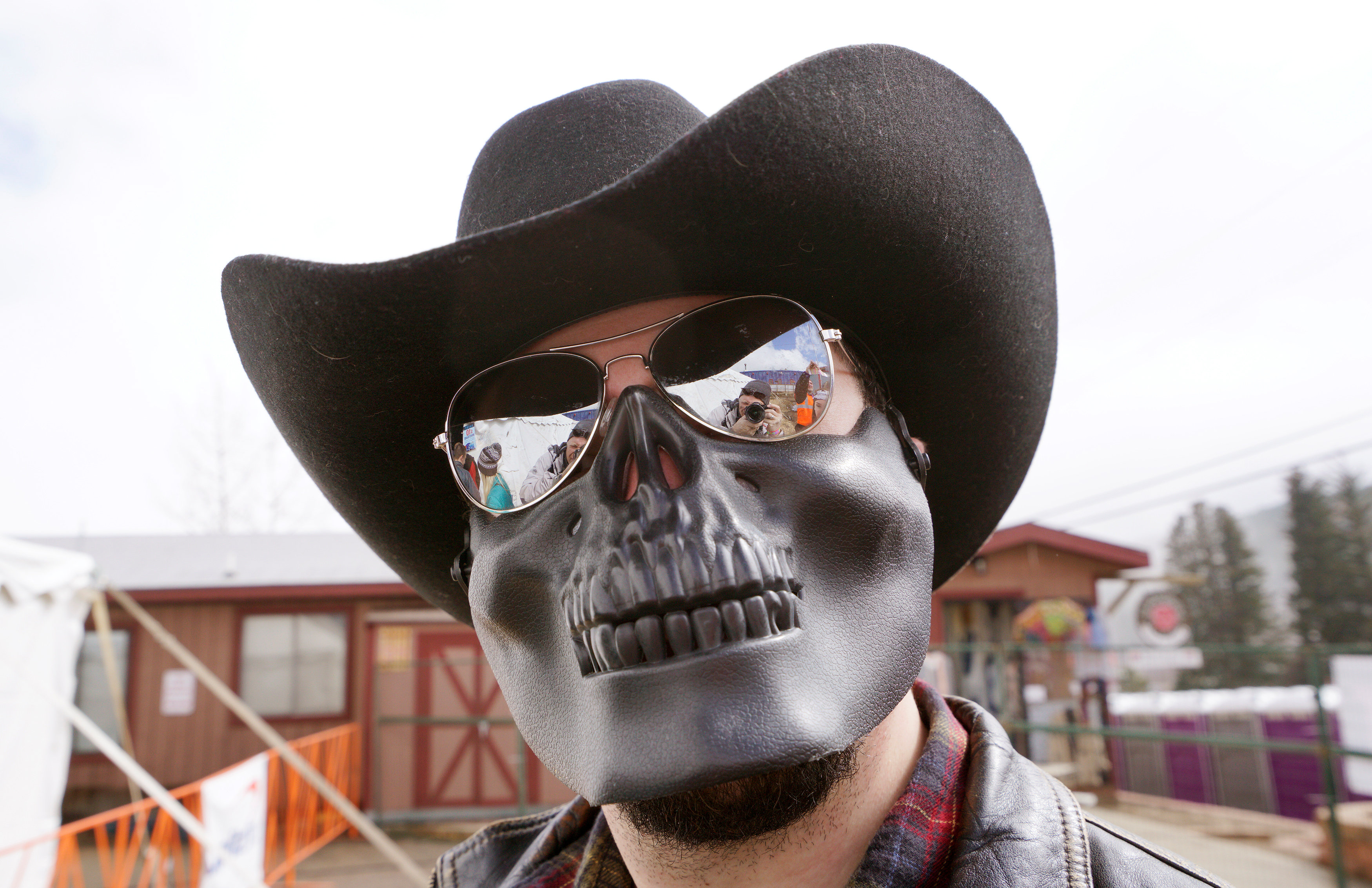 """A man poses in a skeleton mask at  the annual """"Frozen Dead Guy Days"""" festival in Nederland, Colorado, U.S., March 11, 2017. REUTERS/Rick Wilking"""