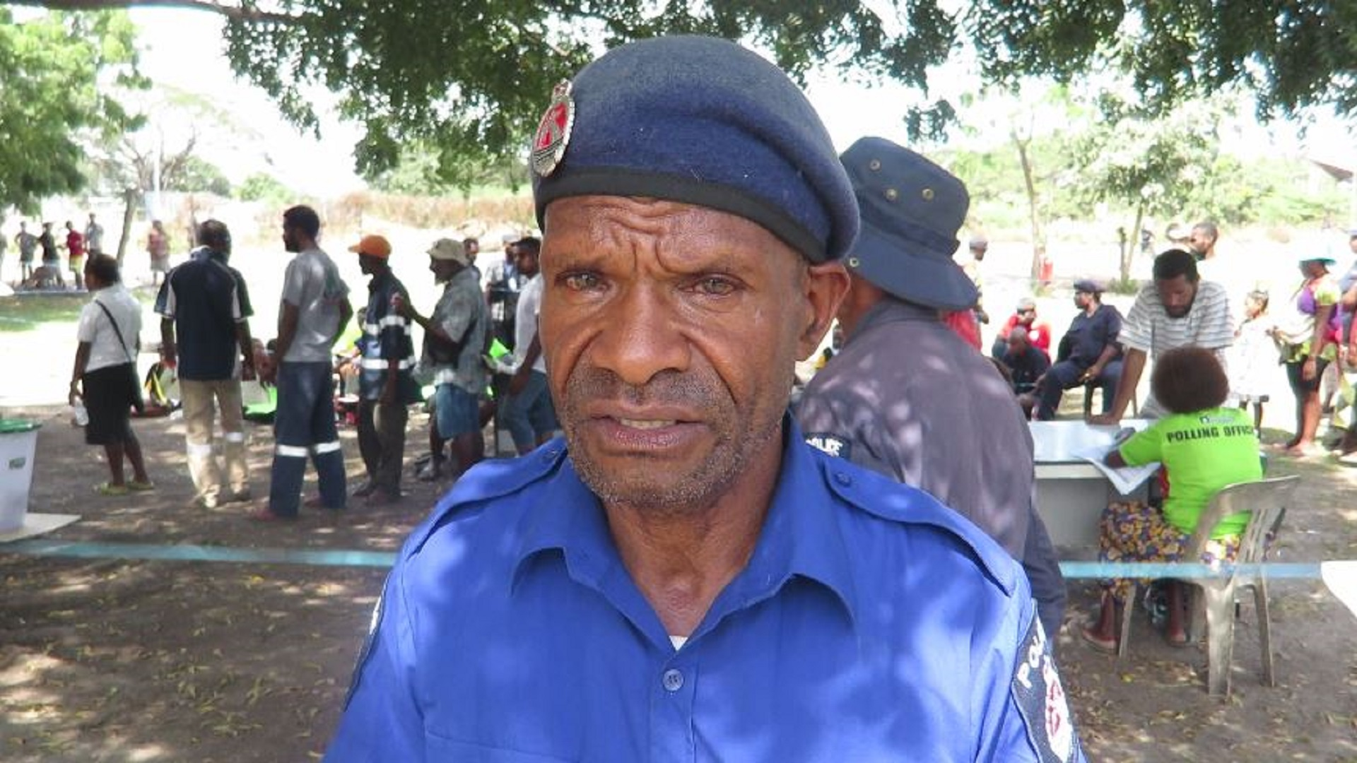 Security Officer at Waigani Police Station polling centre
