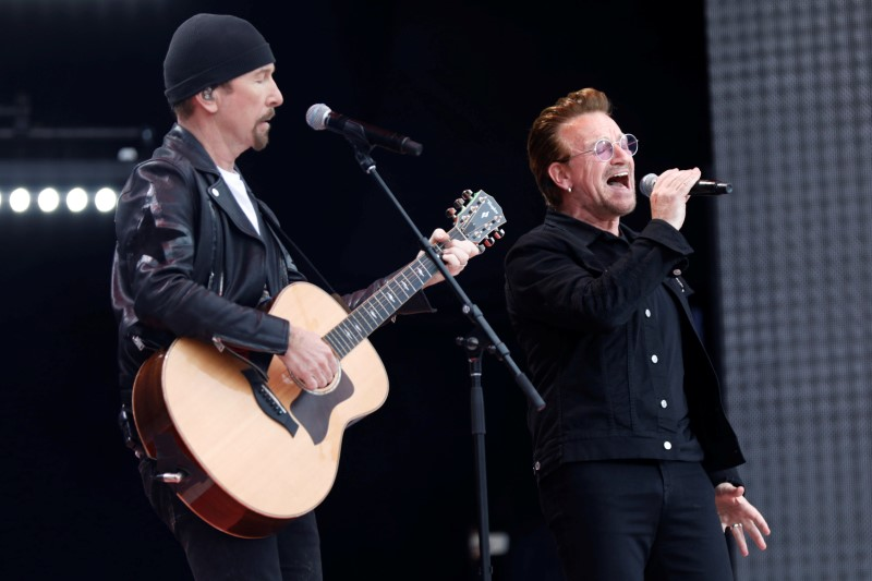 The Edge and Bono of U2 perform during Canada Day celebrations as the country marks its 150th anniversary since confederation, on Parliament Hill in Ottawa, Canada July 1, 2017. REUTERS/Blair Gable