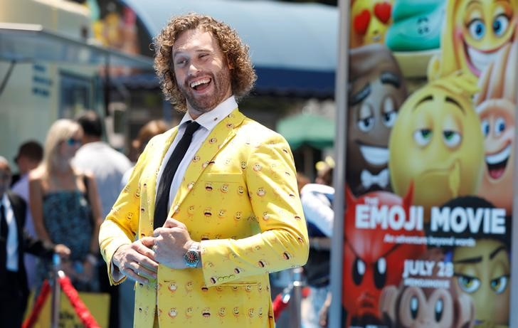 """Cast member T.J. Miller attends the premiere for """"The Emoji Movie"""" in Los Angeles, California, U.S., July 23, 2017.   REUTERS/Mario Anzuoni"""