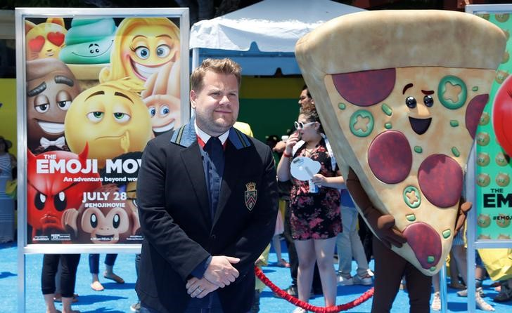 """Cast member James Corden attends the premiere for """"The Emoji Movie"""" in Los Angeles, California, U.S., July 23, 2017.   REUTERS/Mario Anzuoni"""