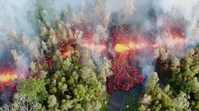 Lava emerges from the ground after Kilauea Volcano erupted, on Hawaii's Big Island May 3, 2018, in this still image taken from video obtained from social media. Picture taken May 3, 208. Jeremiah Osuna/via REUTERS