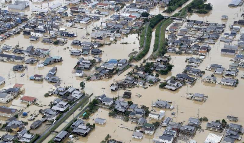 A flooded area is seen after heavy rain in Kurashiki, Okayama Prefecture, Japan, in this photo taken by Kyodo July 8, 2018. Mandatory credit Kyodo/via REUTERS