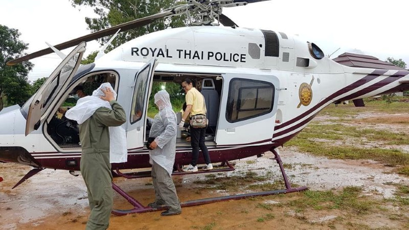 Rescue personnel prepare the transport for the evacuation of the boys and their soccer coach trapped in a flooded cave, in the northern province of Chiang Rai, Thailand, July 10, 2018 in this photo obtained from social media. FACEBOOK/POLICE THAILAND NEWS/via REUTERS