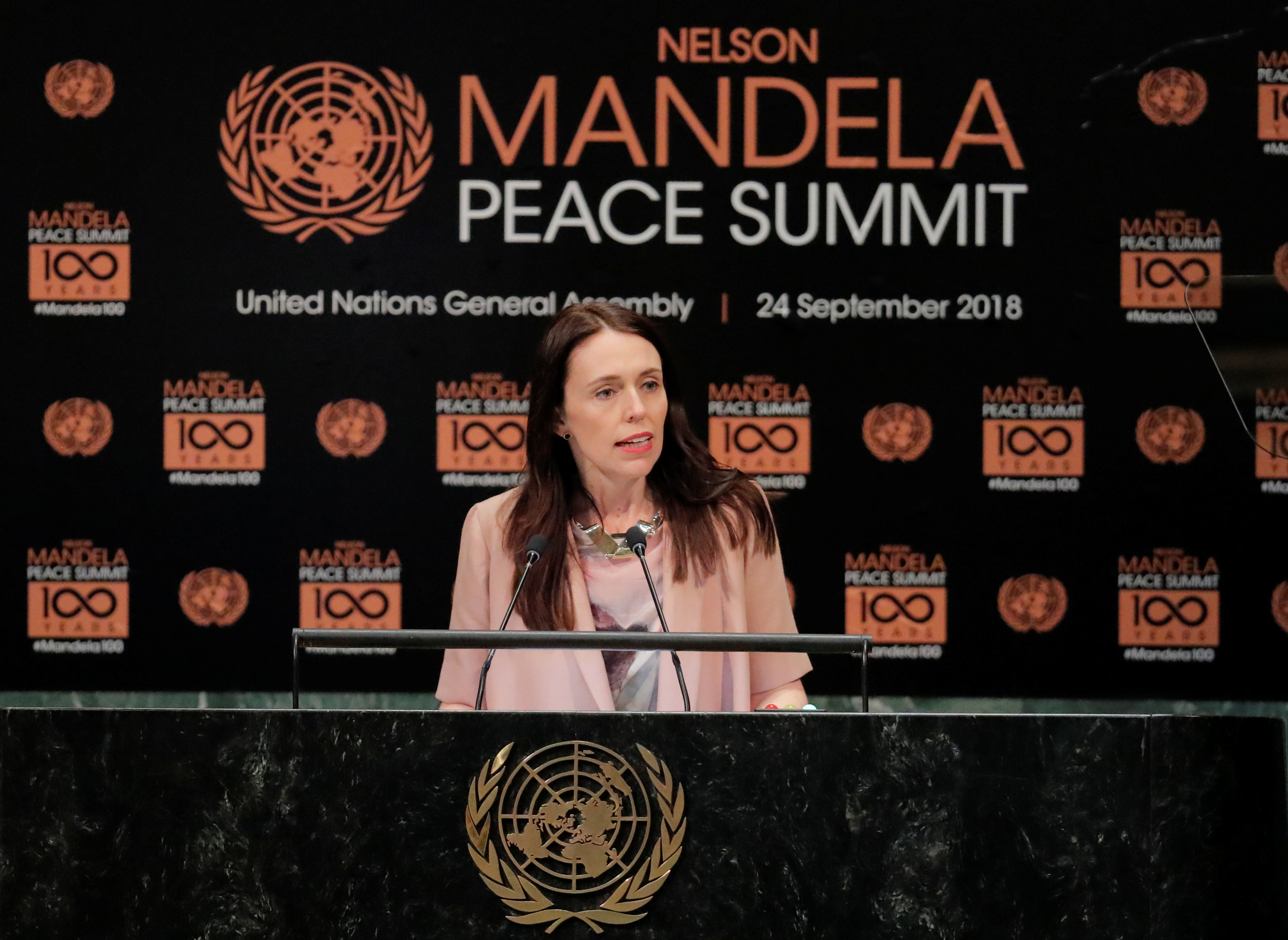 New Zealand Prime Minister Jacinda Ardern arrives speaks at the Nelson Mandela Peace Summit during the 73rd United Nations General Assembly in New York, U.S., September 24, 2018. REUTERS/Lucas Jackson