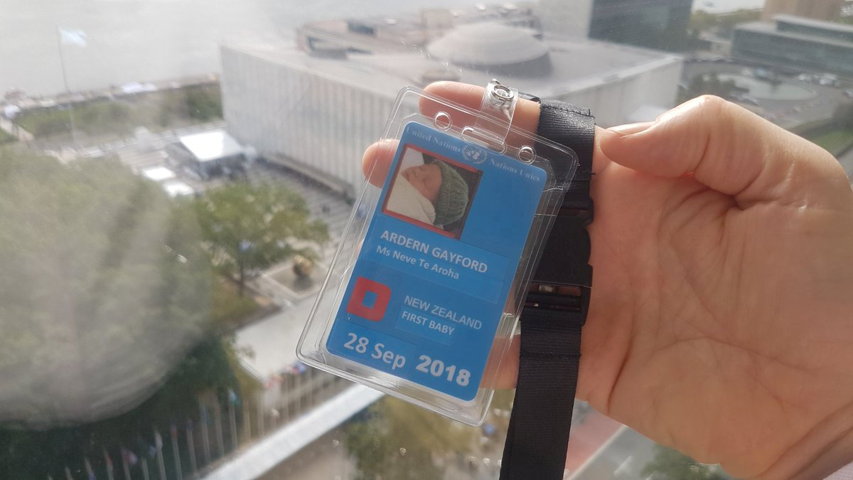 The U.N. id pass of New Zealand Prime Minister Jacinda Ardern's and Clarke Gayford's baby Neve Te Aroha is seen in New York, U.S. September 24, 2018 in this picture obtained from social media on September 26, 2018. Twitter/Clarke Gayford/via REUTERS