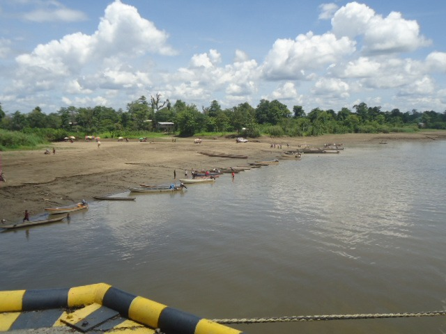 The low river level exposing sand banks at Kiunga water front today (Monday,  December 10).