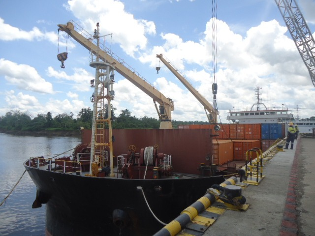 Kiunga Chief discharging general cargo at the wharf today (Monday, December  10).