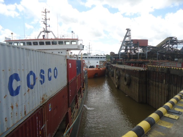 Kiunga Chief at general cargo wharf and Fly Resilience alongside copper wharf  loaded with copper and waiting improvement in river level before departure today (Monday,  December 10).