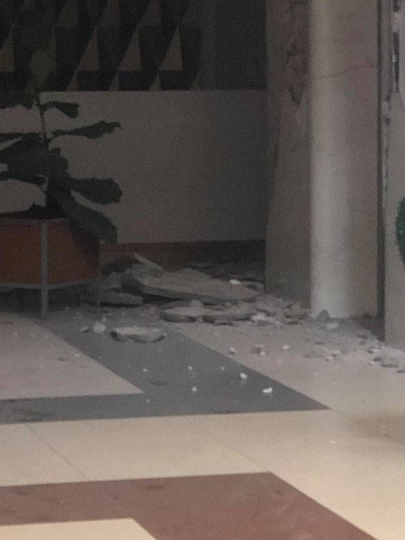 Rubble is seen on a floor of a hotel in the aftermath of an earthquake in Kidapawan City, Philippines October 16, 2019 in this picture obtained from social media. NARU GUARDA CABADDU/via REUTERS