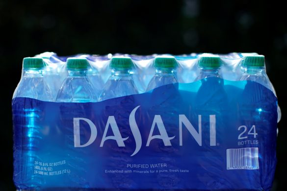 A case of Dasani drinking water is shown in this photo illustration, October 15, 2019. REUTERS/ Mike Blake