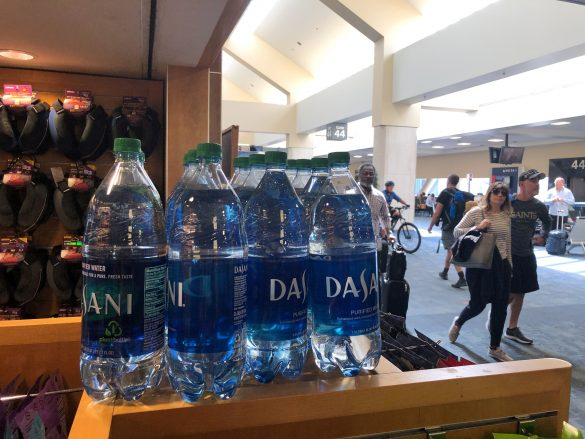 FILE PHOTO: Plastic bottles are seen at SFO airport, which has banned the sale of plastic bottles that contain less than a liter of water, in San Francisco, California, U.S., September 4, 2019. REUTERS/Lucy Nicholson/File Photo