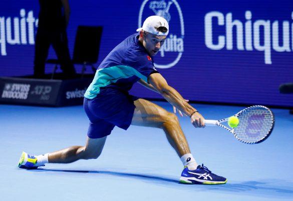 Tennis - ATP 500 - Swiss Indoors Basel - St. Jakobshalle, Basel, Switzerland - October 27, 2019   Australia's Alex de Minaur in action during the final against Switzerland's Roger Federer   REUTERS/Arnd Wiegmann