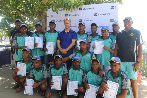 Upu Navu Kila (far right) and Rupert Bray standing for a group photo with the young cadets at RPYC on Sunday.
